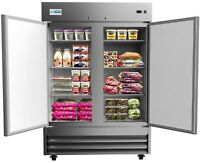 """Stainless Steel 54"""" Two Door Commercial Reach In Refrigerator Cooler 47 cu. ft."""