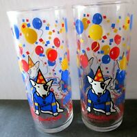 VTG Spuds Mackenzie Tall Beer Glasses Bud Light Tumbler 12 oz Party Animal Set 2
