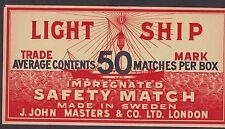 Ancienne grande étiquette Allumette Suède 12601 Bateau phare dim.15,3  x 29 cm