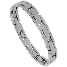 "9"" Tungsten Carbide Magnetic Bracelet w/ Rectangular Bar Links"