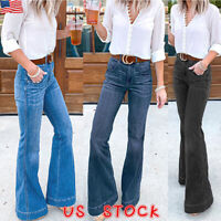 Womens High Waist Flared Denim Jeans Ladies Ripped Skinny Long Pants Trousers