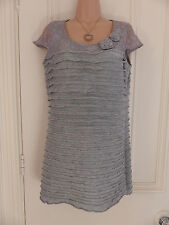 Gorgeous grey jersey Per Una dress UK 12 with lace top and 3D flowers
