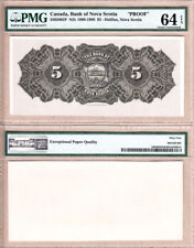 PMG UNC64 EPQ Bank of Nova Scotia $5 1898-1908 Color Back Proof  CH# 550-28-02P