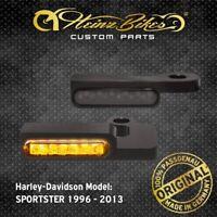 HeinzBikes LED Blinker Lenker Harley Sportster Roadster bis 2013 Schwarz