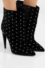 Saint Laurent Freja Velvet Crystal Studded Ankle Boots $1195 38