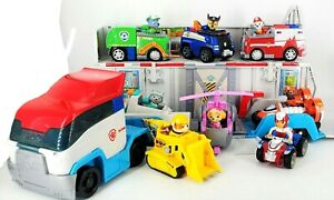 Paw Patrol Semi Truck Hauler w/Sounds & Ryder with Characters and Vehicles LOT