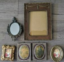 4 Vintage Small Picture Frames One Made in Italy & 2 Victorian Pictures
