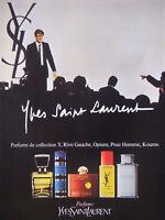 PUBLICITÉ DE PRESSE 1983 PARFUMS YVES SAINT LAURENT KOUROS OPIUM RIVE GAUCHE Y