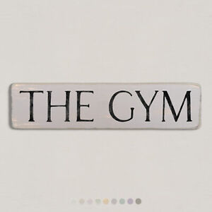 THE GYM Vintage Style Wooden Sign. Shabby Chic Retro Home Gift. S2