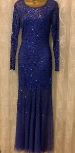 Gina Bacconi Royal Blue Embellished Wedding Drape Long Sle Party Prom Maxi Dress