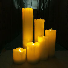 6x Flameless LED Candles Dripping Wax Flicker Wedding Party Pillar Candle Lights