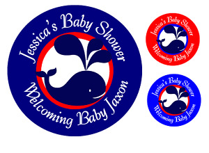 24 NAUTICAL PERSONALIZED WHALE  BABY SHOWER PARTY STICKERS FAVORS LABELS ROUND