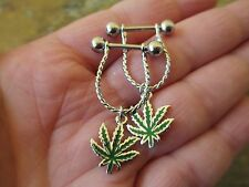 Full Set Pot Leaf Cannabis Marijuana 420 Barbell Nipple Shields Piercings