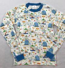 NWT Hanna Andersson Size 140 Blue Zoo Animal Print Long John Pajama Pj Top Shirt