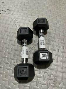 BRAND NEW 8LB PAIR OF RUBBER COATED HEX DUMBBELLS WEIGHTS FOR COMMERCIAL GYM
