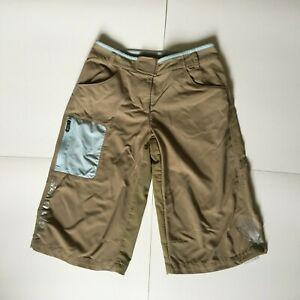 Salomon Womens Hiking Outdoor Tan Blue Nylon/Polyester Bermuda Pockets Shorts 6