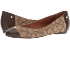 New Coach Women's Ballet Flats In Brown Canvas With Signature Logo Sz 8.5 M