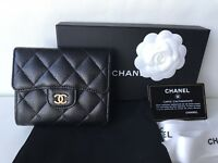 $1K CLASSIC CHANEL BLACK CAVIAR GOLD HW SMALL WALLET