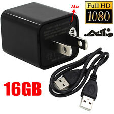 FULL HD 1080P USB Security Camera Hidden Spy DVR AC Adapter Charger+16GB
