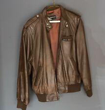 Vintage 1980s Members Only Leather Cafe Racer Bomber Jacket Brown Size 38