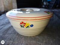 "Vintage Universal Cambridge Circus Floral Camwood Ivory Pottery 8"" Casserole/Lid"