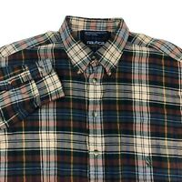 Nautica Button Up Shirt Men's 2XL XXL Long Sleeve Multi Plaid Casual 100% Cotton