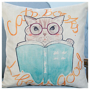 UK Retro Vintage Reading BOOK Lovely Cat Linen Throw Pillow Case Cushion Cover