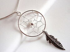 Dream Catcher w/ Sacred Feather Necklace 925 Sterling Silver Corona Sun Jewelry