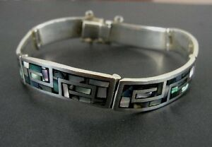 Taxco Abalone Stone Inalys Sterling 970 Silver Link Mexico Bracelet