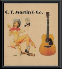 1940s Martin D-18 Guitar & Pin Up Girl Poster Reprint On 1940s Paper *P185