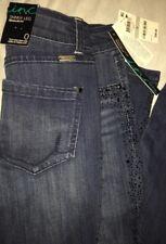New INC DENIM Womens 0 Regular Fit SKINNY LEG Full Embellished Jeans MSRP $99.50