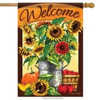 "Sunflower Bucket Welcome Fall House Flag Autumn Pumpkin Apples 2 Sided 28"" x 40"""