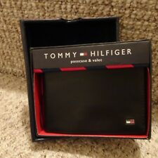 TOMMY HILFIGER ~ BILLFOLD WALLET & VALET & PASS ~ LEATHER ~ BLACK ~QUALITY~ BNIB