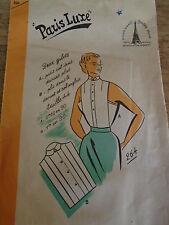 ANCIEN  PATRON * PARIS LUXE*2 PLASTRONS COL DROIT OU ANGLAIS  TAILLE 44  1940/50