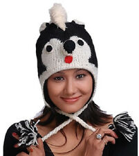 New Animal Face Hat Black White Skunk Wool Beanie Winter Ski Cap Adult Warm Gift