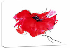 LARGE RED FLORAL FLOWER PAINTING CANVAS ARTWORK A1