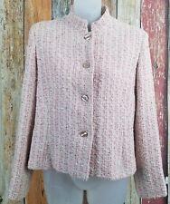 Luciano Barbara Women's Pink & Cream Boucle Tweed Blazer Sz (44) US 10