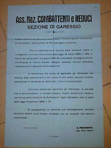 MANIFESTO ASS. NAZ. COMBATTENTI E REDUCI GARESSIO 1968 PRIMA GUERRA WWI 20-27