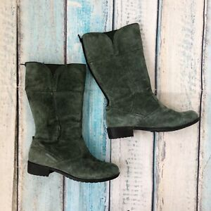 Sz 7.5 Womens Boots WJ004 Green Suede Leather