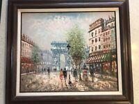 Burnett Oil Painting Canvas Paris Scene 31x27