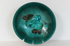 "Vintage Handcrafted Enamel on Copper Teal 6.5"" Round Bowl Ashtray 3 Rests"