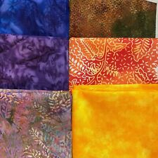 Lot 6 fat quarters Purple blue orange hand dyed fabric FQ for masks quilting