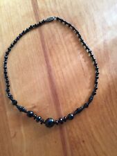 """Antique Victorian Whitby Black Jet Mourning Necklace 20"""""""