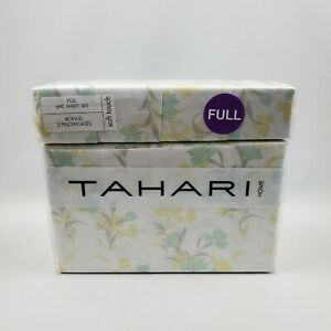 Tahari Home Soft Touch Full Sheet Set 100% Polyester 6 Piece Floral Yellow Green