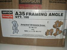 "Simpson Strong Tie (100) A35 4 1/2"" 6 Way Framing Angle ""NEW"" Galvanized A"