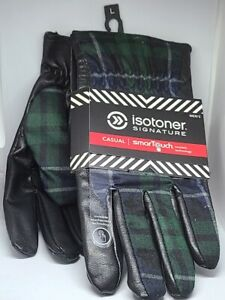 Men's Isotoner Signature SmarTouch Casual Invisible Large Black Plaid Green NEW
