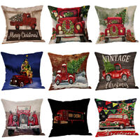 Tree Christmas Home Decor Cotton Linen Pillow Case Square Throw Cushion Cover