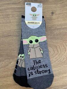 PRIMARK Disney Star Wars BABY YODA Liner Trainer Socks Women's 3 Pairs UK 4-8