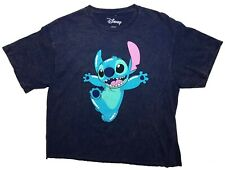 Disney Happy Stitch Womens Juniors Tie Dye Cropped Top T-shirt M