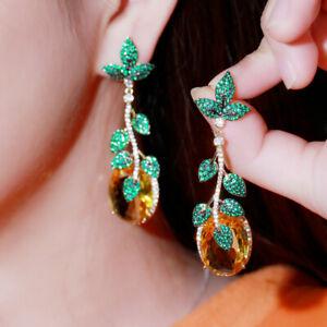 Beauty 18k Gold Yellow CZ Long Leaf Big Dangle Drop Earrings for Brides Banquet